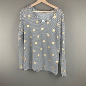 NWT Loft Striped Top w/ Gold Polka Dots
